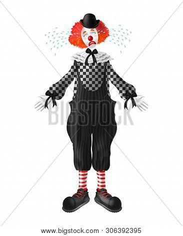 Crying Red-hair Clown With Tears Squirting From Eyes, Red Nose And Makeup On Face, Wearing Bowler Ha