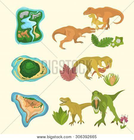 Set Of Dinosaurs Including T-rex, Brontosaurus, Triceratops, Velociraptor, Allosaurus, Prehistorical