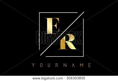 Er Golden Letter Logo With Cutted And Intersected Design And Square Frame Vector Illustration