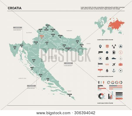 Vector Map Of Croatia. Country Map With Division, Cities And Capital Zagreb. Political Map,  World M