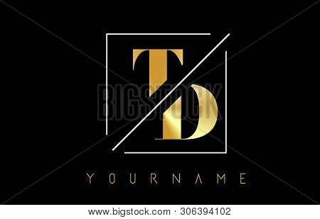 Td Golden Letter Logo With Cutted And Intersected Design And Square Frame Vector Illustration