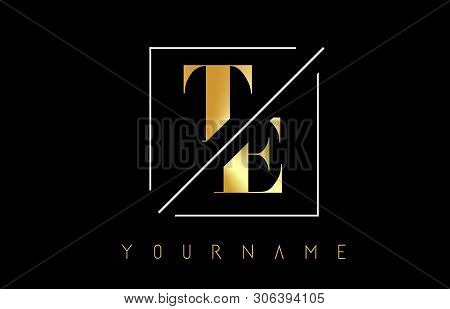 Te Golden Letter Logo With Cutted And Intersected Design And Square Frame Vector Illustration