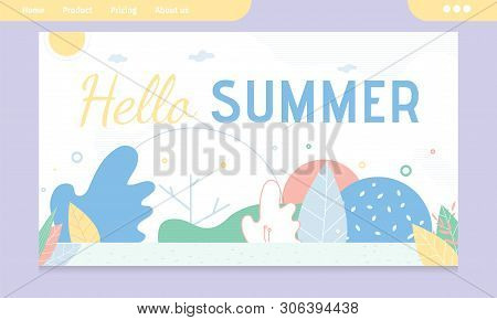 Hello Summer Greeting Banner With Abstract Design. Invitation For Best Season Vacation. Advertising