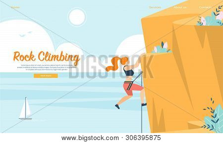 Young Woman With Rope And Sports Equipment Engaged In Rock Climbing. Extreme Sport Activity, Leisure
