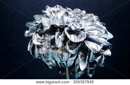 Flower Covered Metallic Paint Close Up. Metal Flower. Abstract Art. Eternal Beauty. Botany Concept.