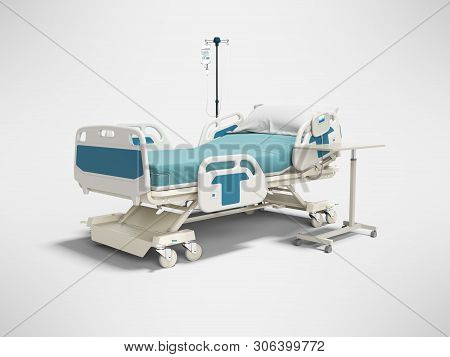 Concept Hospital Bed With Electronic Control From The Console With Dropper And Table 3d Render On Gr