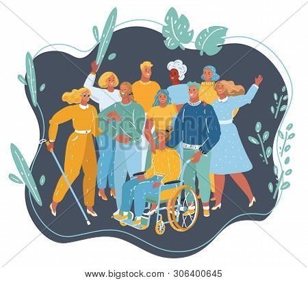 Vector Cartoon Illustration Of Disabled People Get Together. Disabled And Handicapped Characters, Vo