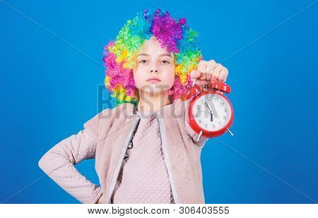 Punctuality Is A Kingly Virtue. Cute Little Child Demanding Punctuality. Adorable Small Girl Strictl