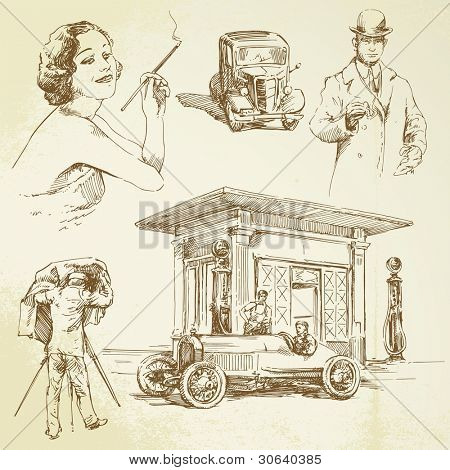vintage petrol station - hand drawn set