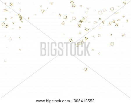 Memphis style gold geometric confetti vector background with triangle, circle, square shapes, zigzag and wavy line ribbons. Small 90s style bauhaus gold yellow sparkle confetti flying on white. t-shirt