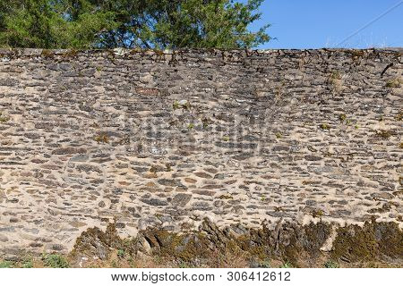 Stones Background And Texture Of Old Medieval Castle Wall