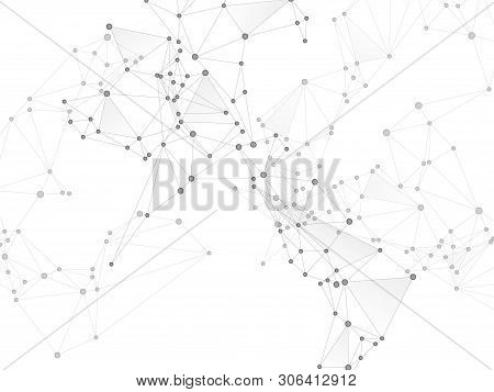 Geometric Plexus Structure Cybernetic Concept. Network Nodes Greyscale Plexus Background. Virtual Re