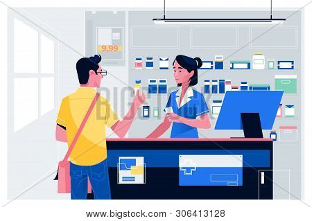 Pharmacist At Counter In Pharmacy.man Buys Drugs At The Pharmacy.health Care Medical Background. Dru
