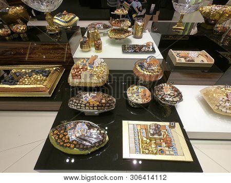 Dubai Uae - May 2019: Patchi Chocolates And Gift Packs Displayed In Store For Sale. Patchi Is An Leb