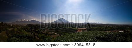 Panoramic View To Picchu Picchu, Chachani And Misti Mountains And Arequipa City From Yanahuara Viewp