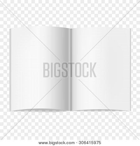 Opened Vector Realistic Book, Journal Or Magazine Mockup With Sheet Of A4. Blank Open Pages Of Sketc