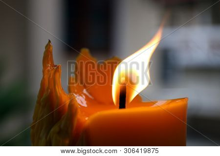 Candle, Candlelight In Dark Background, Lighting Of Candle, Candle Illuminated In The Darkness, Flam
