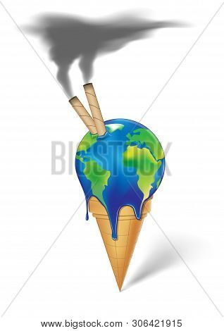 Earth  Ice Cream With Wafer Rolls And Smoke Is Melting Isolated On A White Background Vertical Vecto