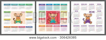 Calendar 2020 Set  Vector & Photo (Free Trial) | Bigstock