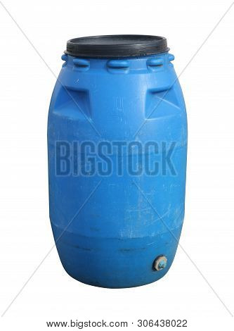 Plastic Barrel Chemical Container (with Clipping Path) Isolated On White Background