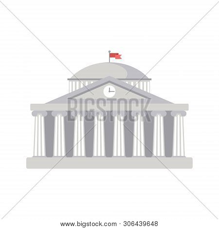 University Building Sign, Bank, Museum, Library, Parliament. Classical Greece Roman Architecture In