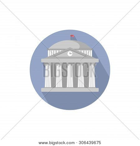 University Building Sign,bank,museum, Library,parliament. Classical Greece Roman Architecture In Whi