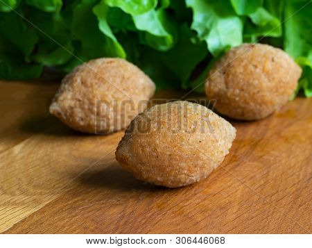 Traditional Arabic Kibbeh With Lamb And Pine Nuts. Close Up.
