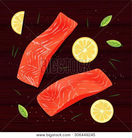 Fresh Salmon Filet With Lemon Slices, Spices, Rosemary And Green Leaves On Brown Wooden Table