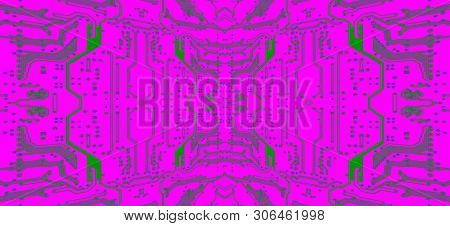 Violet Circuit Board Symmetrical Pattern As Abstract Technology Background. Digitally Altered Image.