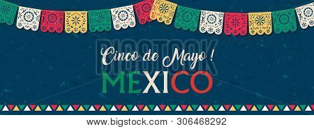 Happy Cinco De Mayo Web Banner Illustration For Mexico Independence Celebration. Typography Quote Wi