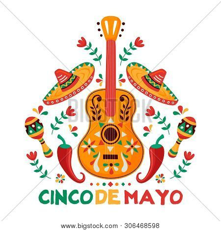 Cinco De Mayo Greeting Card For Mexican Independence Celebration. Traditional Mariachi Guitar And Me