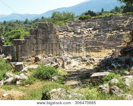 Ruins Of An Ancient Roman Amphitheater In Tlos. Province Of Mugla. Turkey