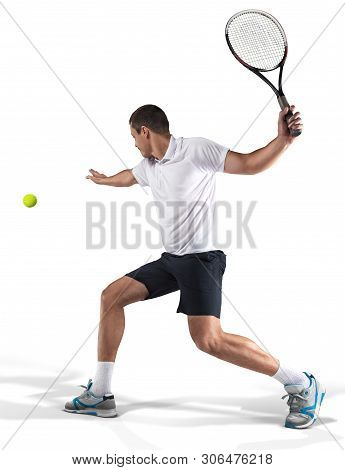 Tennis Player Hiting The Ball Isolated On White