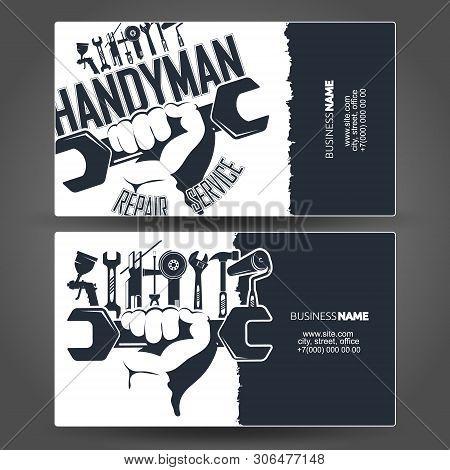 Handyman Business Card Design Maintenance, Vector, Professional,