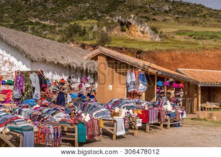 Peruvian Selling Local Production At Tourist Visiting Place