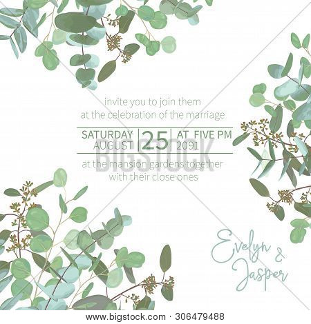 Greeting Festive Flyer, Holiday Card, Vector. Elegant Floral, Greenery, Asymmetric Collection. Bouqu