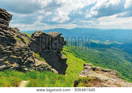 Mountain Summer Landscape. Meadow With Huge Boulders Among The Grass On Top Of The Hillside Near The