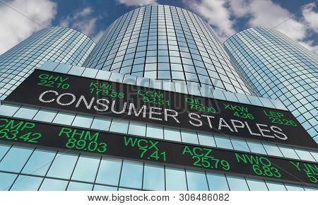 Consumer Staples Goods Stock Market Industry Sector Wall Street Buildings 3d Illustration poster