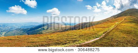 Panorama Of A Mountain Landscape On A Sunny Day. Beautiful Scenery In August. Footpath To The Top Al