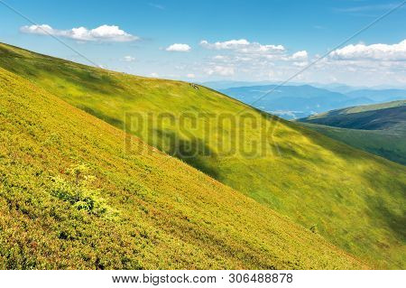 Green Hill And Slopes In Summertime. Beautiful Bright Scenery With Grassy Meadows On A Sunny Day. Fl