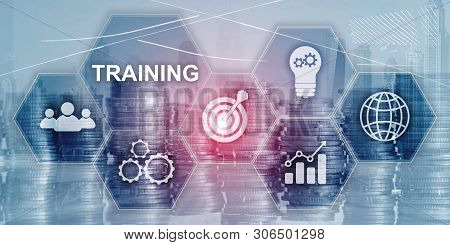 Training Webinar Business Internet Technology Concept. Inscription On Virtual Screen: Training