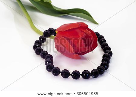Bright Black Beads And A Red Tulip With Green Leaves.