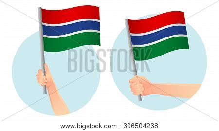 Gambia flag in hand. Patriotic background. National flag of Gambia  illustration poster