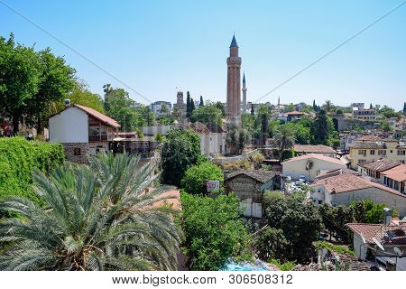 Antalya, Turkey - May 19, 2019: View From The Observation Deck On The Roofs Of The Old Buildings Of