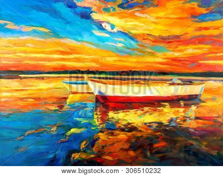 Original Oil Painting Of Boat And Sea On Canvas.sunset Over Ocean.modern Impressionism