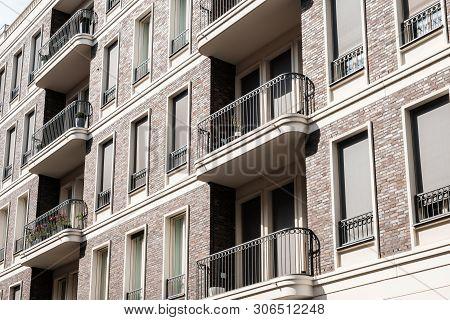 Balcony And Windows On Residential Building Facade - House Exterior