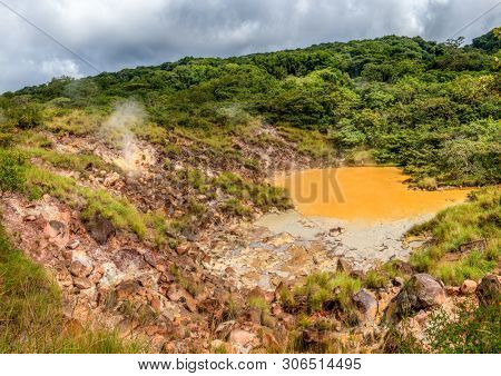 View of hot mud pool in Rincon de la Vieja National Park in Costa Rica