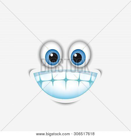 Cute Smiling, Grinning Face Emoticon Showing Teeth, Emoji