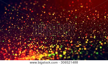 Cloud Of Multicolored Particles In The Air Like Sparkles On A Dark Background With Depth Of Field. B