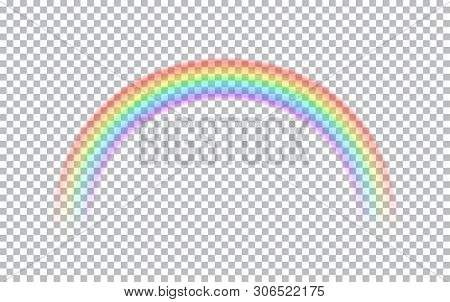 Colored Transparent Rainbow. Vector Illustration. Symbol Of Good Luck And Right Path. Colorful Weath